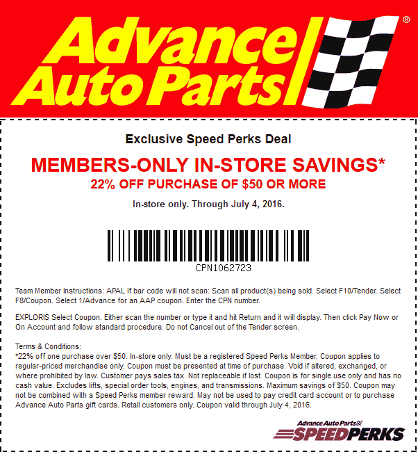 Advance Auto In Store Coupons >> Advance Auto Parts Coupons 22 Off 50 At Advance Auto