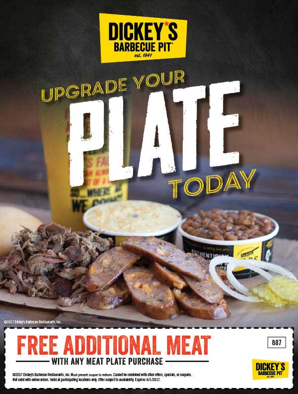 Dickeys Barbecue Pit Coupon July 2020 Extra meat free with your plate today at Dickeys Barbecue Pit