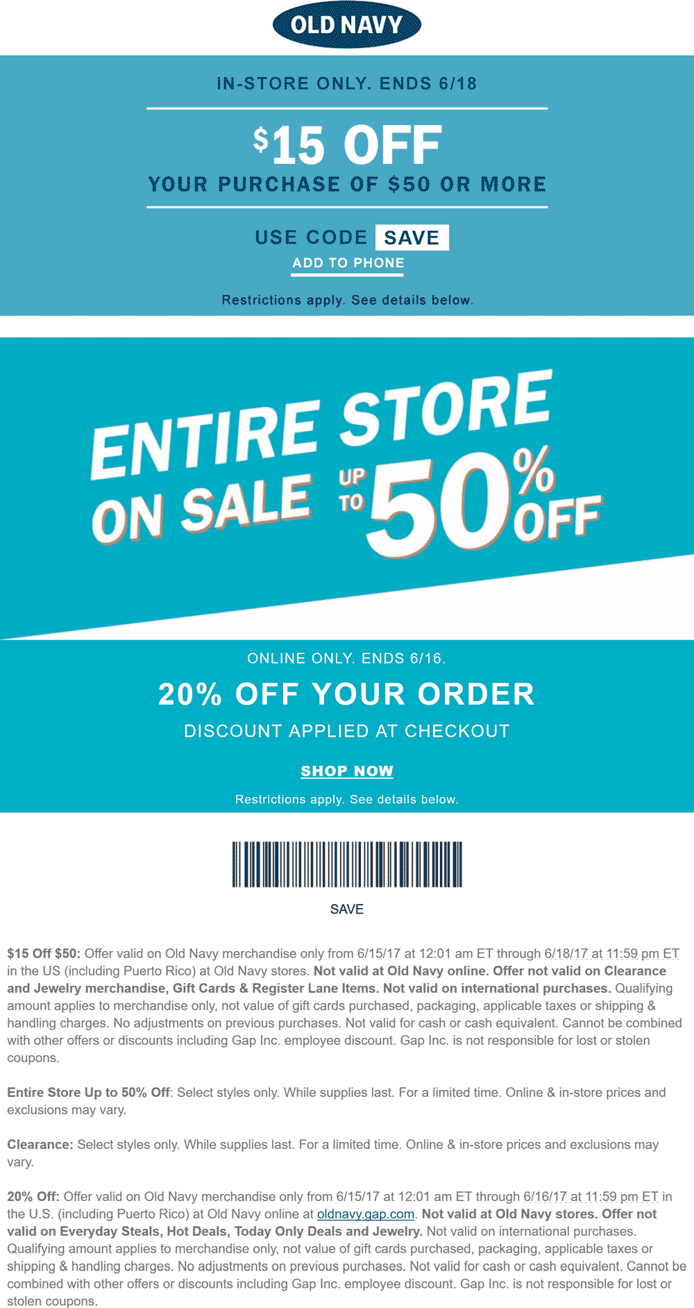 Save with our 26 active Old Navy promo codes