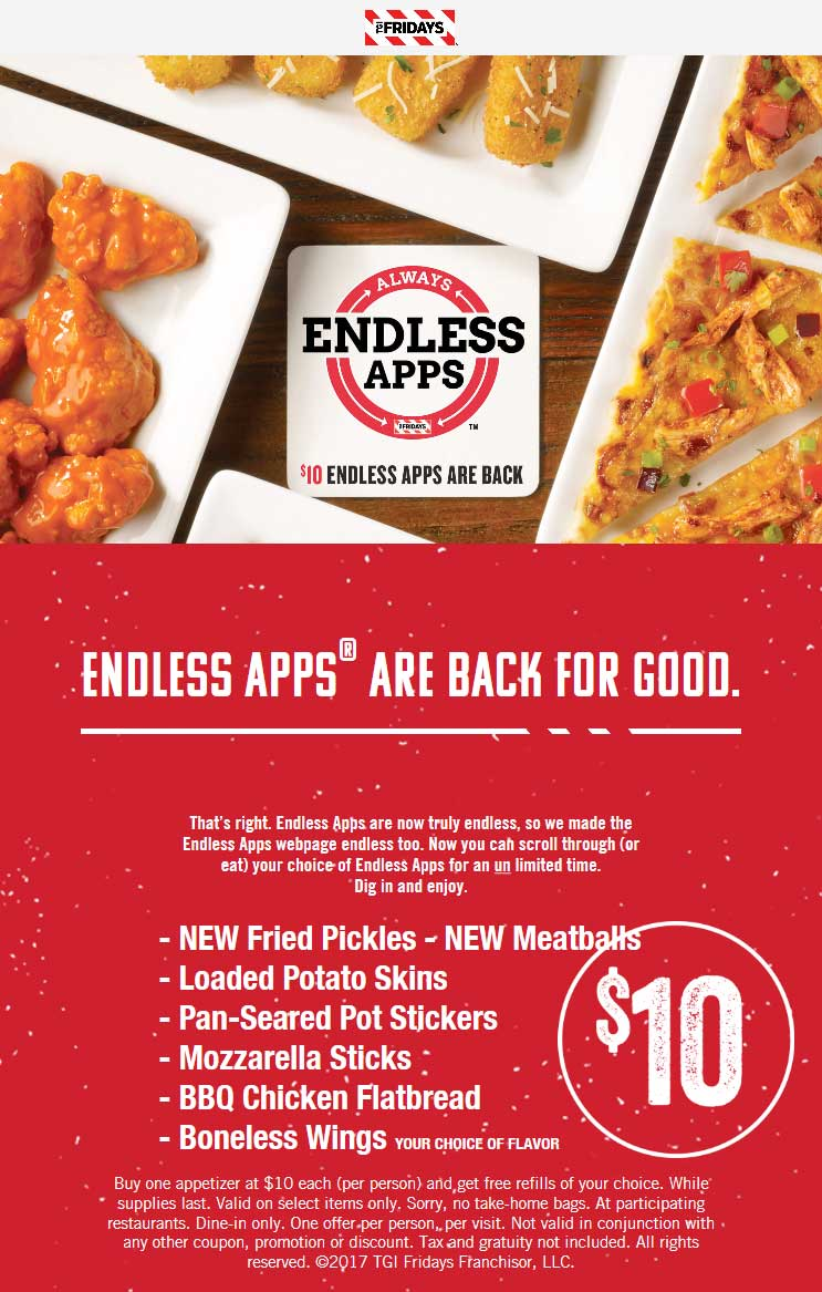 TGI Fridays Coupons - Bottomless appetizers are permanently on the