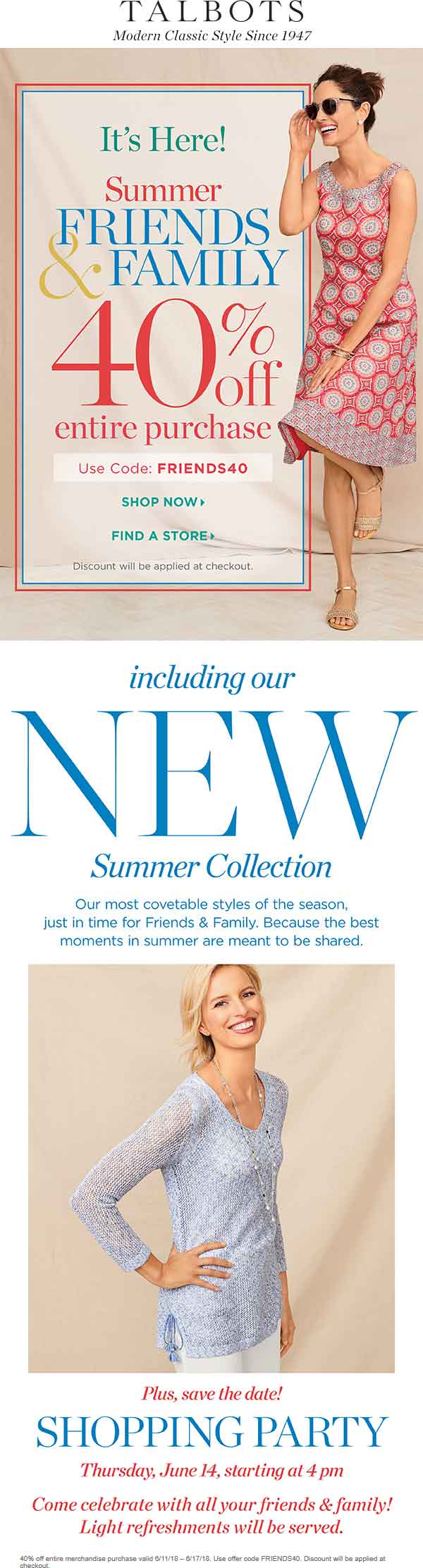 Talbots Coupon June 2020 40% off at Talbots, or online via promo code FRIENDS40