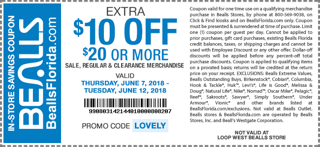 Bealls Coupon June 2020 $10 off $20 today at Bealls, or online via promo code LOVELY