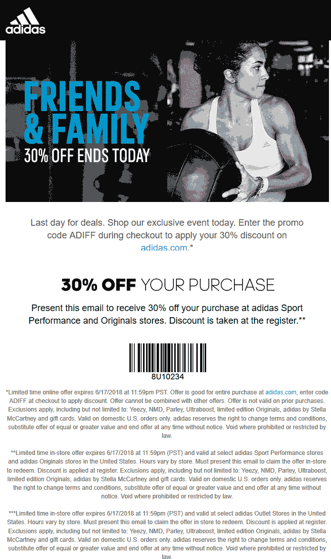 Adidas Coupons -  20 off  100 at Adidas Outlet locations 20e20ab02