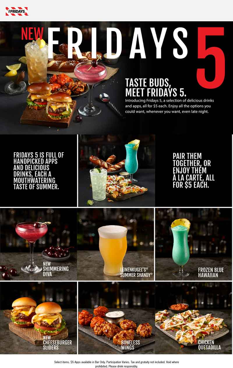 TGI Fridays Coupon August 2020 $5 for various drinks & appetizers at TGI Fridays