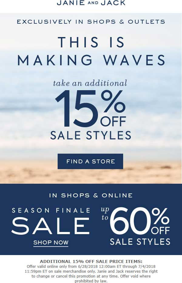 5620ee7d6421 Janie and Jack Coupon June 2019 Extra 15% off sale items at Janie and Jack