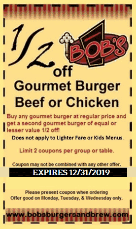 Bobs Burgers Coupon June 2019 Second burger 50% off at Bobs Burgers & brew