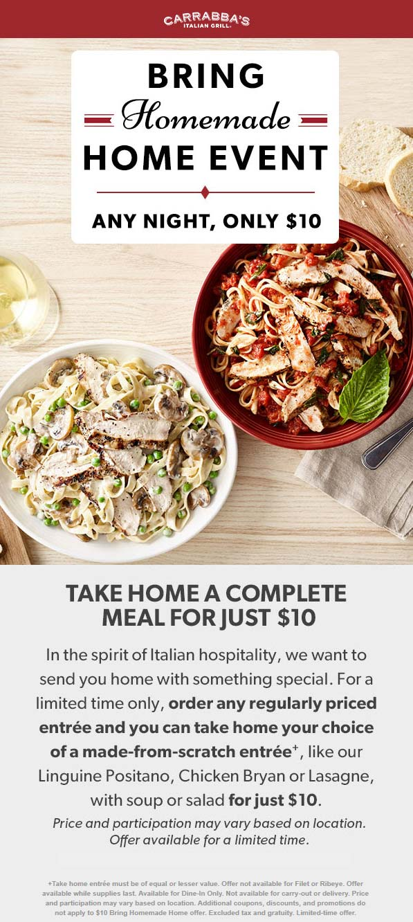 Carrabbas Coupon August 2019 Second meal $10 as takeout at Carrabbas