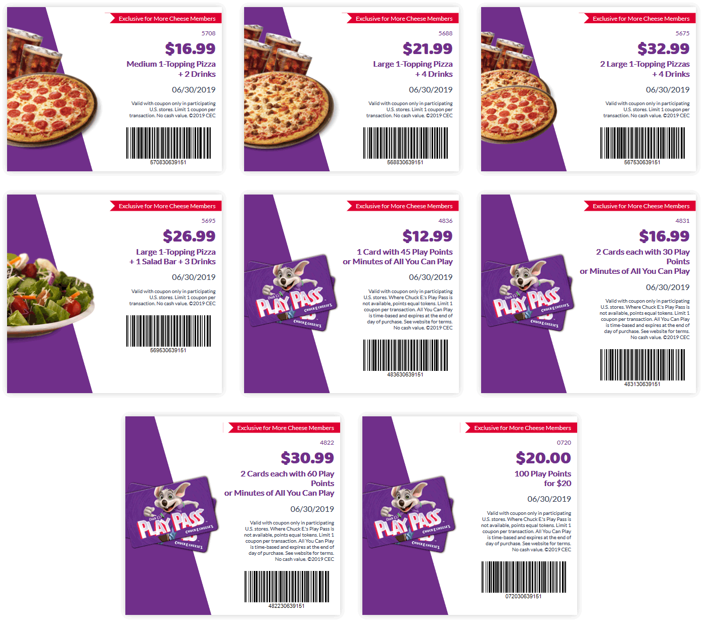 ChuckE.Cheese.com Promo Coupon 100 play points for $20 & more at Chuck E. Cheese pizza