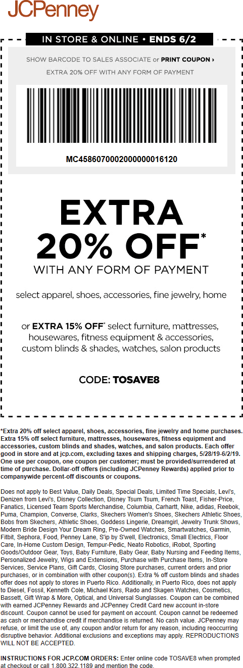 JCPenney Coupon November 2019 Extra 20% off at JCPenney, or online via promo code TOSAVE8
