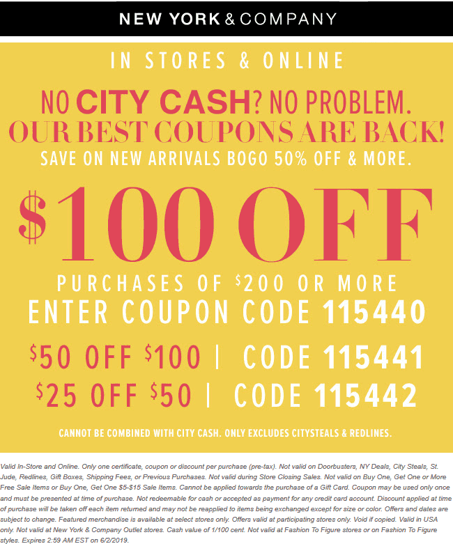 NewYork&Company.com Promo Coupon $25 off $50 & more at New York & Company, or online via promo code 115442