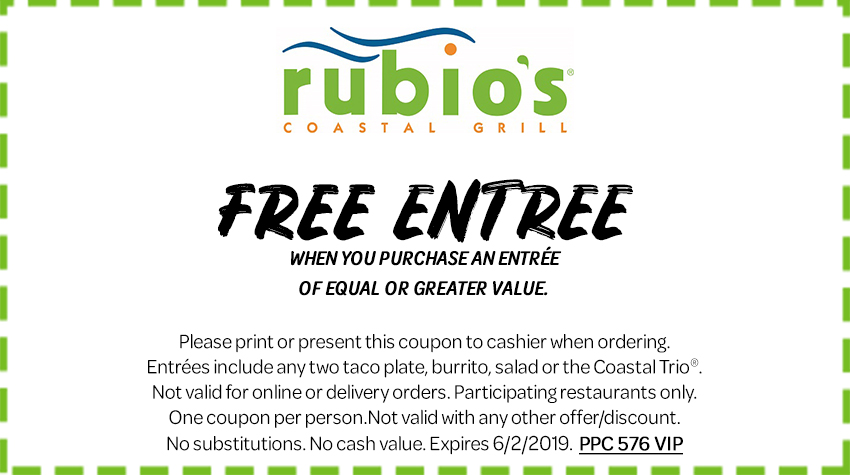 Rubios Coupon June 2019 Second entree free at Rubios Coastal Grill