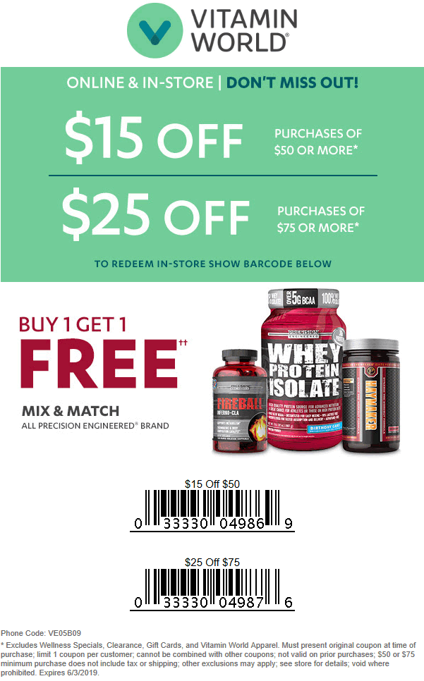 Vitamin World Coupon November 2019 $15-$25 off $50+ at Vitamin World, or online via promo code VE05B09