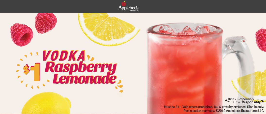 Applebees Coupon August 2019 $1 vodka raspberry lemonades at Applebees restaurants