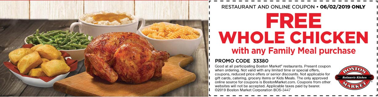 Boston Market Coupon February 2020 Free chicken with your family meal today at Boston Market