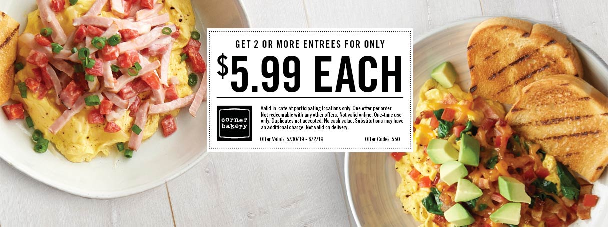 Corner Bakery Coupon October 2019 $6 entrees today at Corner Bakery Cafe