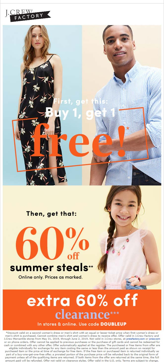 J.Crew Factory Coupon October 2019 Second dress or shirt free today at J.Crew Factory, or online via promo code DOUBLEUP