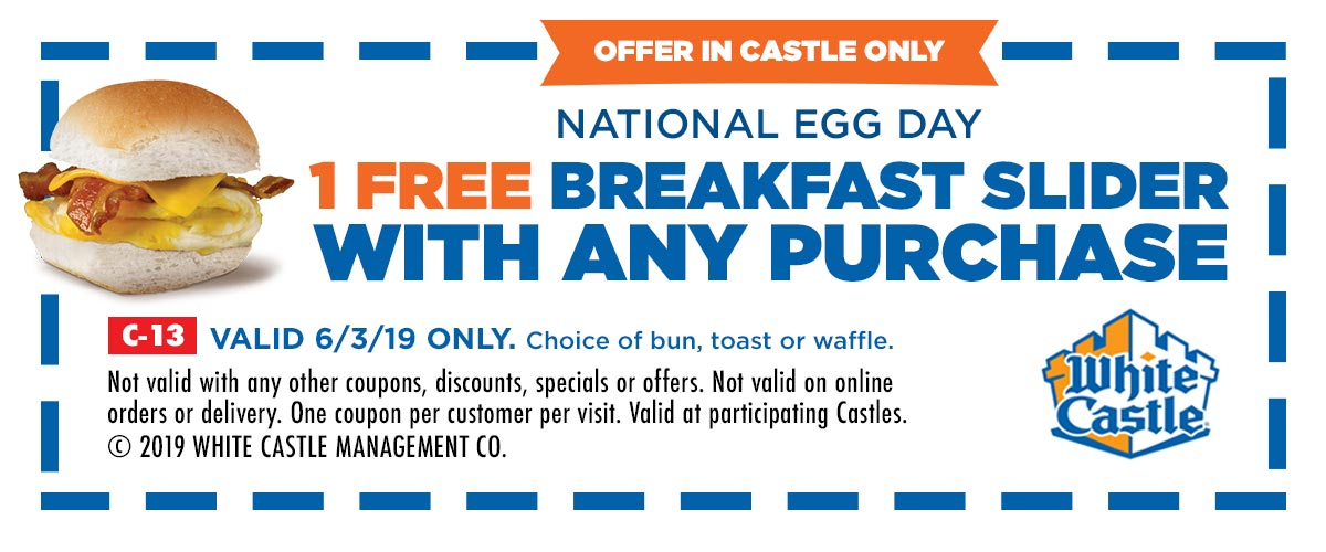 White Castle Coupon November 2019 Free breakfast slider with any order Monday at White Castle