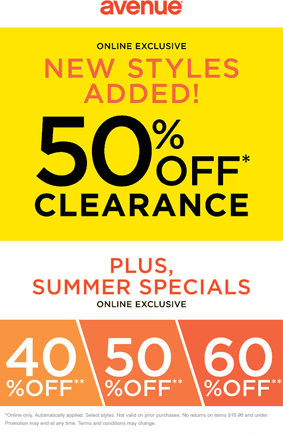 Avenue Coupon July 2020 Extra 50% off clearance online at Avenue