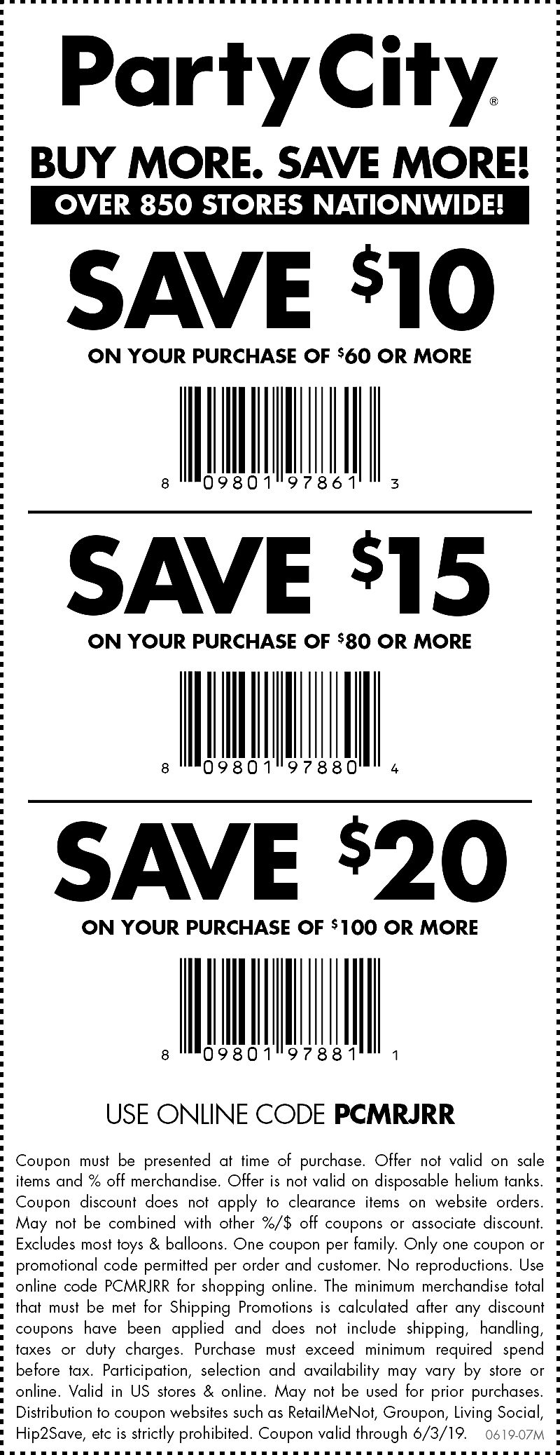 Party City Coupon August 2019 $10 off $60 & more today at Party City, or online via promo code PCMRJRR