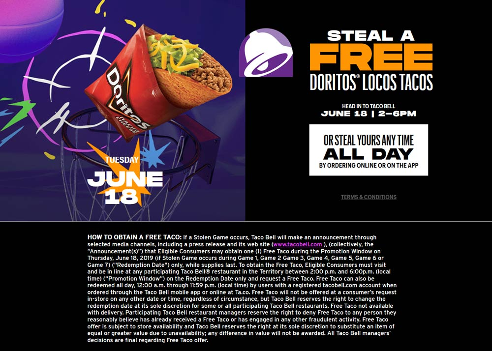 Taco Bell Coupon November 2019 Free taco the 18th at Taco Bell
