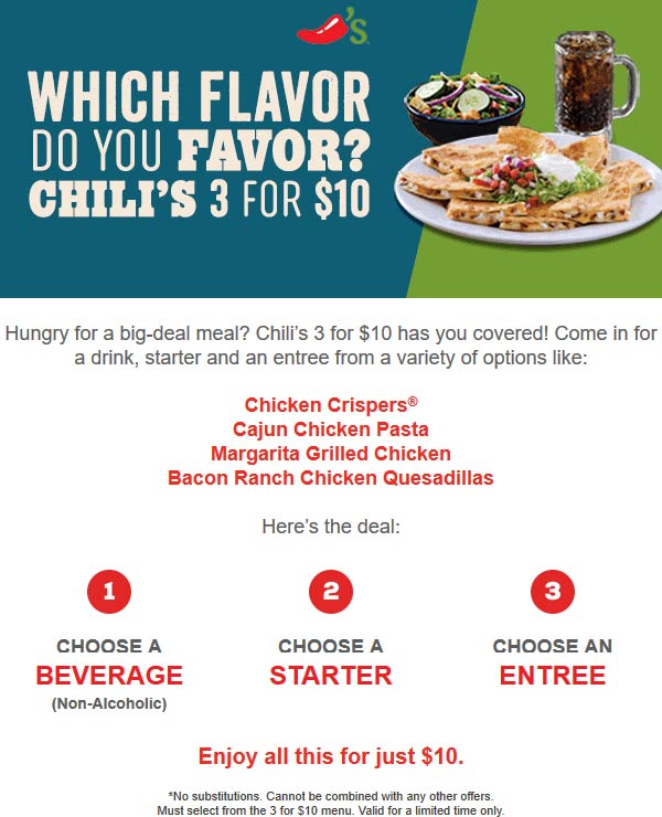 Chilis.com Promo Coupon Entree + appetizer + drink = $10 at Chilis