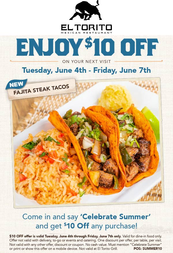 ElTorito.com Promo Coupon $10 off at El Torito restaurants