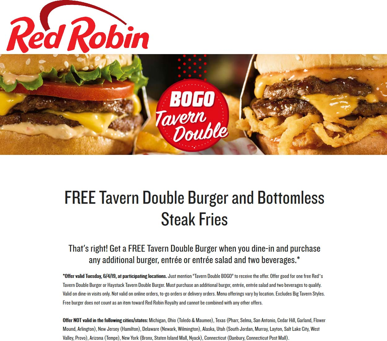 Red Robin Coupon July 2020 Free double burger + endless fries today with your entree at Red Robin