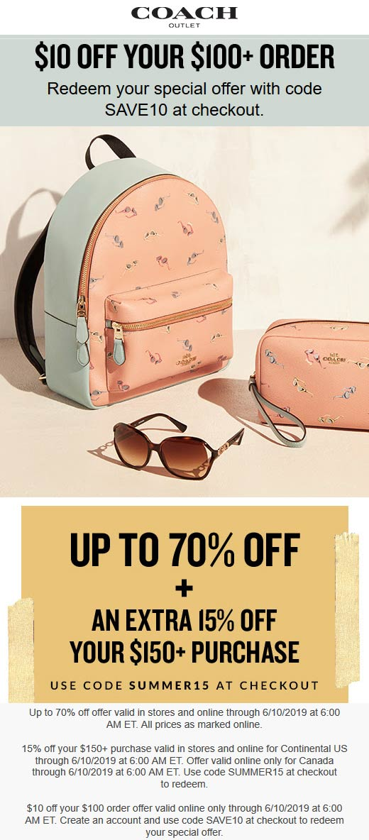 Coach Outlet Coupon January 2020 15% off $150 & more at Coach Outlet, or online via promo code SUMMER15
