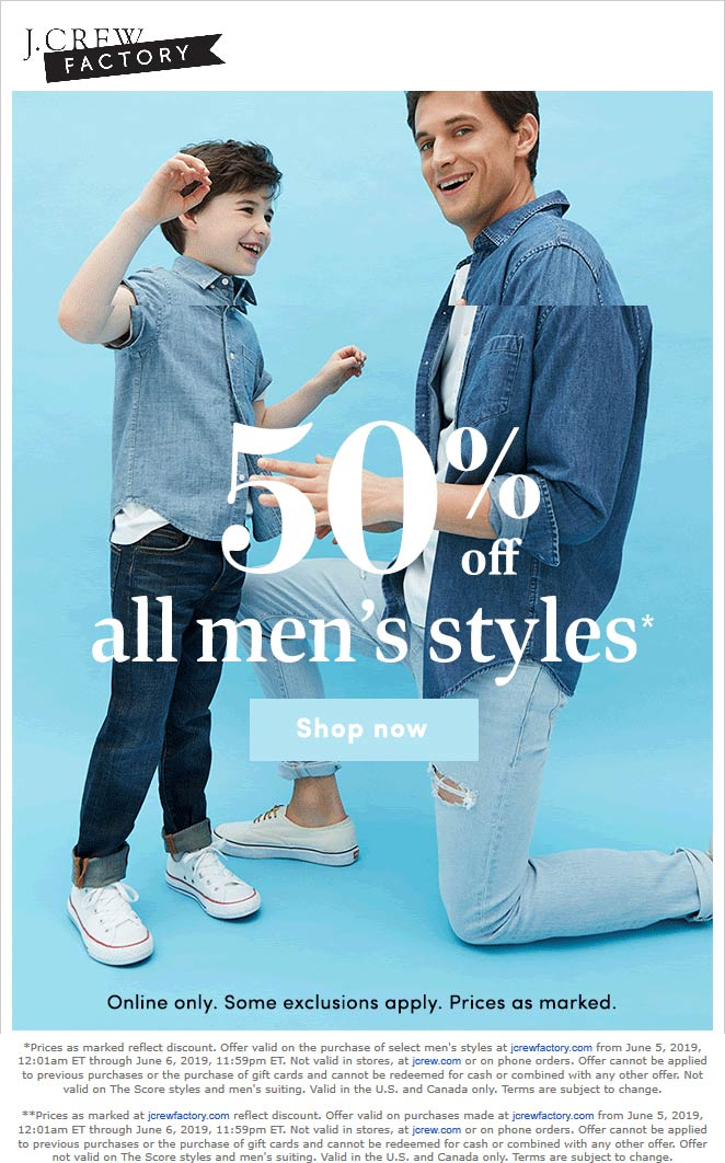J.Crew Factory Coupon July 2020 50% off mens online today at J.Crew Factory