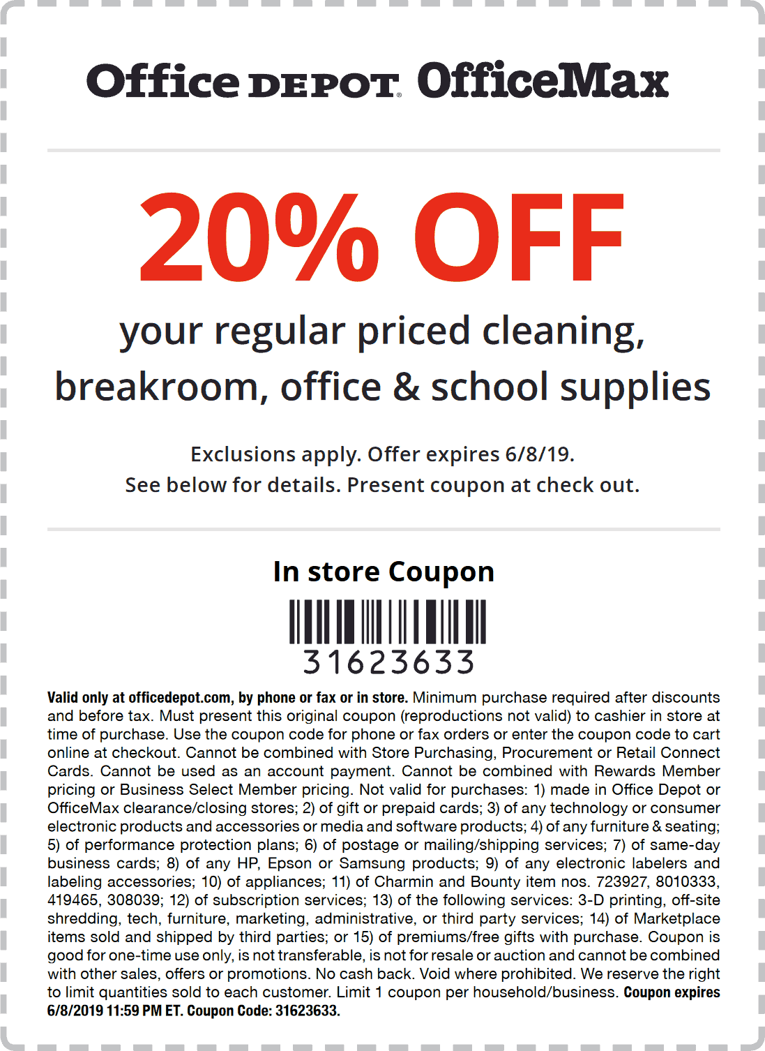 Office Depot Coupon June 2019 20% off at Office Depot & OfficeMax, or online via promo code 31623633