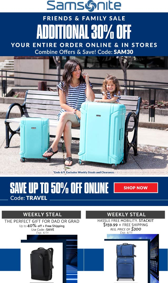 Samsonite Coupon October 2019 30% off at Samsonite, or online via promo code SAM30
