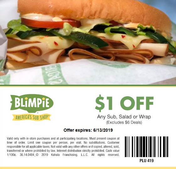 Blimpie Coupon June 2019 $1 off your sub sandwich at Blimpie