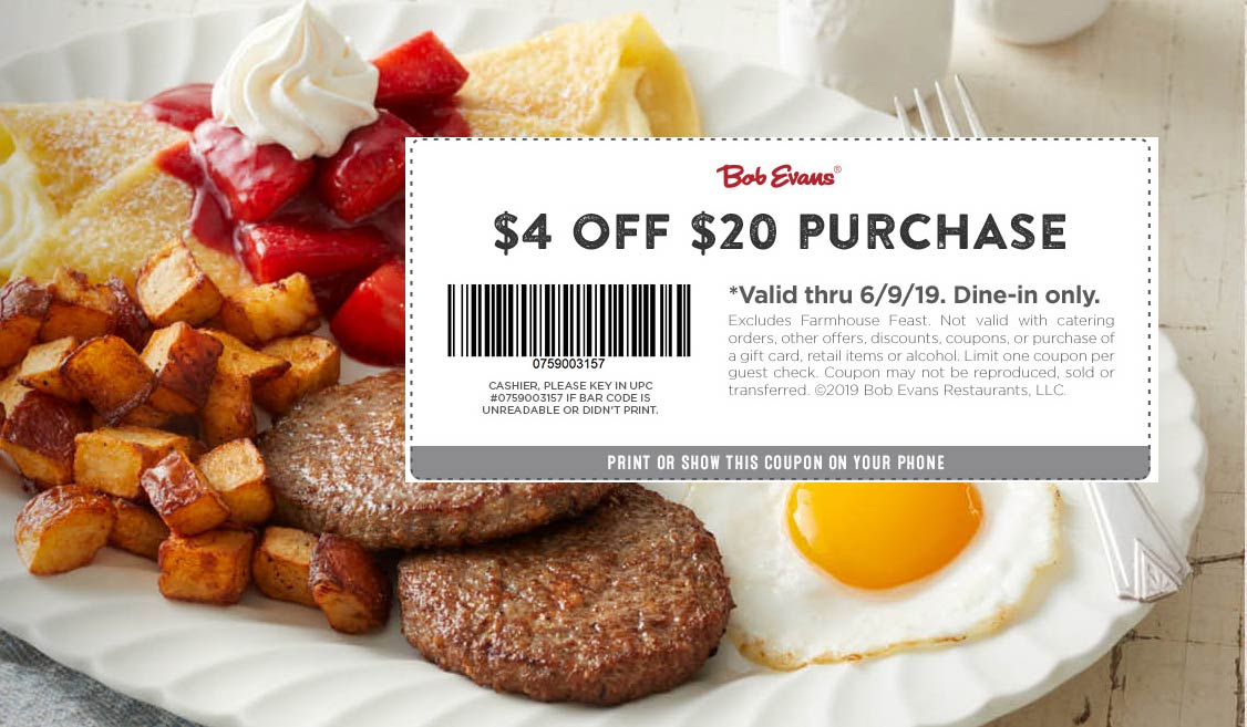 Bob Evans coupons & promo code for [April 2020]