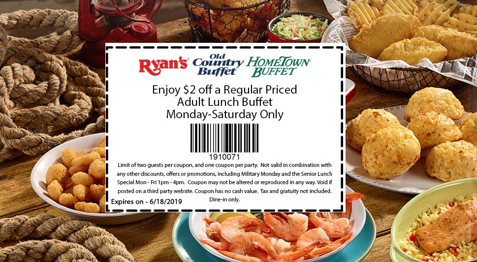 Old Country Buffet Coupon July 2020 $2 off a lunch buffet at Ryans, Hometown Buffet & Old Country Buffet