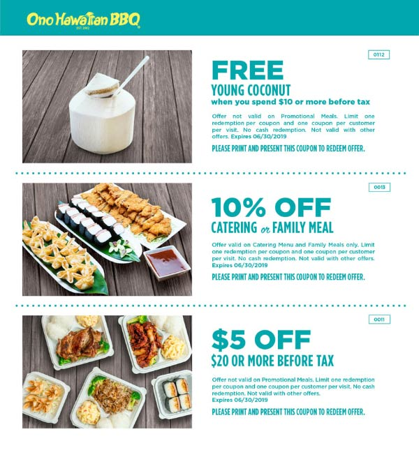 Ono Hawaiian BBQ coupons & promo code for [August 2020]
