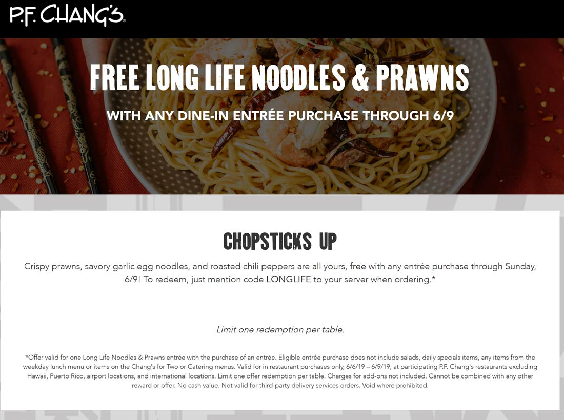 PF Changs Coupon November 2019 Free noodles & prawns with your entree at PF Changs