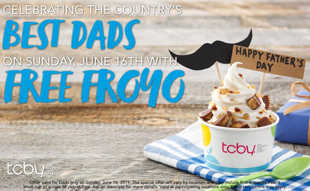 TCBY Coupon January 2020 Free frozen yogurt for Dads Sunday at TCBY