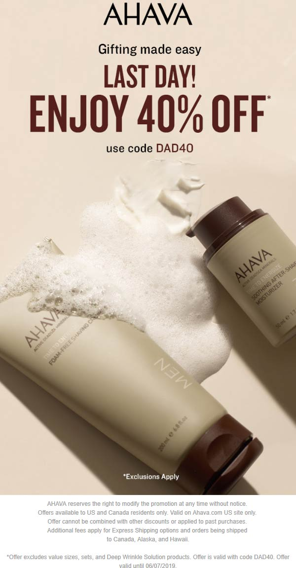 AHAVA.com Promo Coupon 40% off everything online today at AHAVA via promo code DAD40