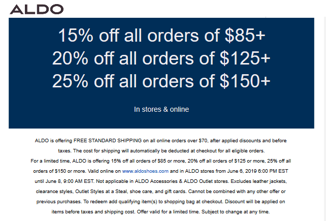 Aldo coupons & promo code for [October 2020]