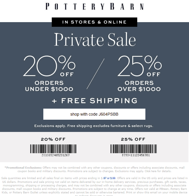 Pottery Barn Coupon June 2019 20-25% off at Pottery Barn, or online via promo code J604PSBB
