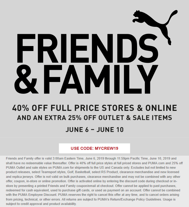 Puma.com Promo Coupon 40% off at Puma, or online via promo code MYCREW19