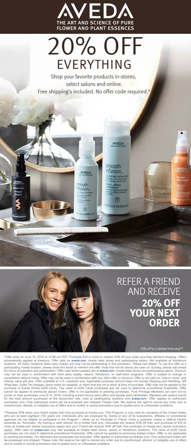 Aveda Coupon December 2019 20% off everything at Aveda, ditto online