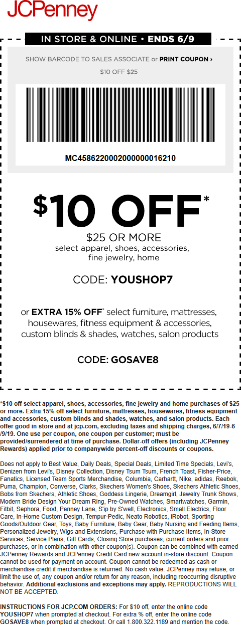 JCPenney Coupon February 2020 $10 off $25 at JCPenney, or online via promo code YOUSHOP7