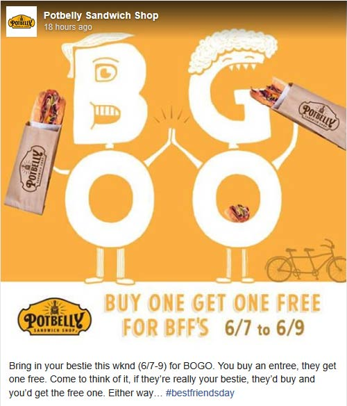Potbelly Coupon June 2019 Second sandwich free at Potbelly sandwich shop