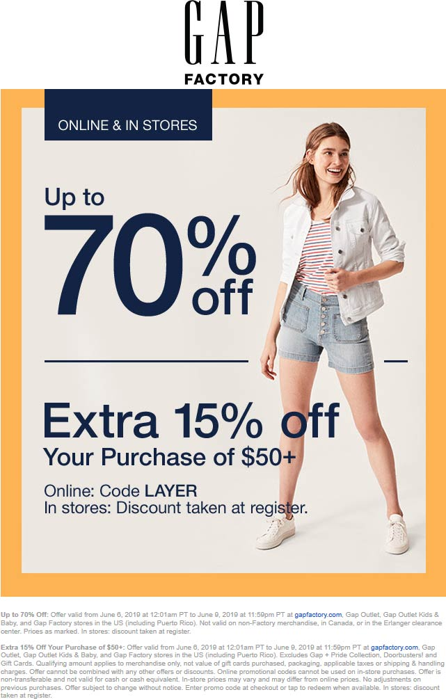 Gap Factory Coupon June 2019 15-70% off $50+ today at Gap Factory, or online via promo code LAYER