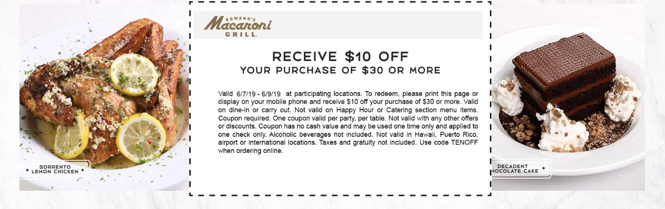 MacaroniGrill.com Promo Coupon $10 off $30 today at Macaroni Grill restaurants