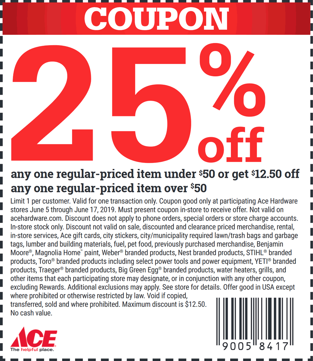 Ace Hardware Coupon November 2019 25% off a single item at Ace Hardware