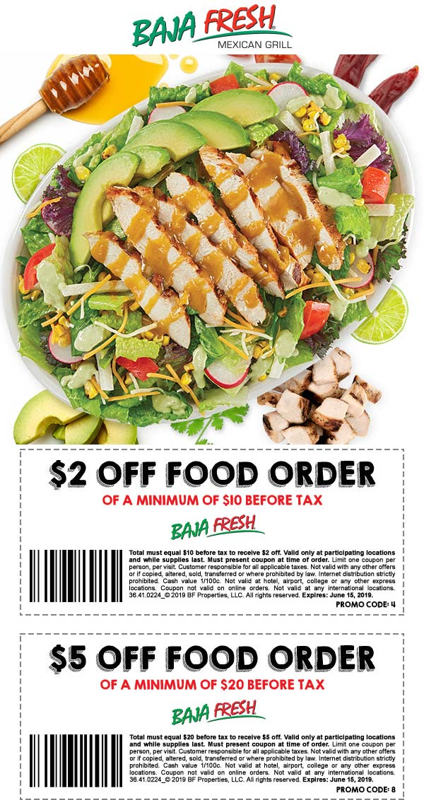 Baja Fresh Coupon February 2020 $2-$5 off $10+ at Baja Fresh restaurants