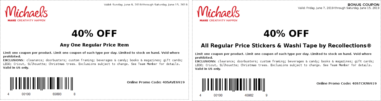 Michaels.com Promo Coupon 40% off a single item at Michaels, or online via promo code 40SAVE6919