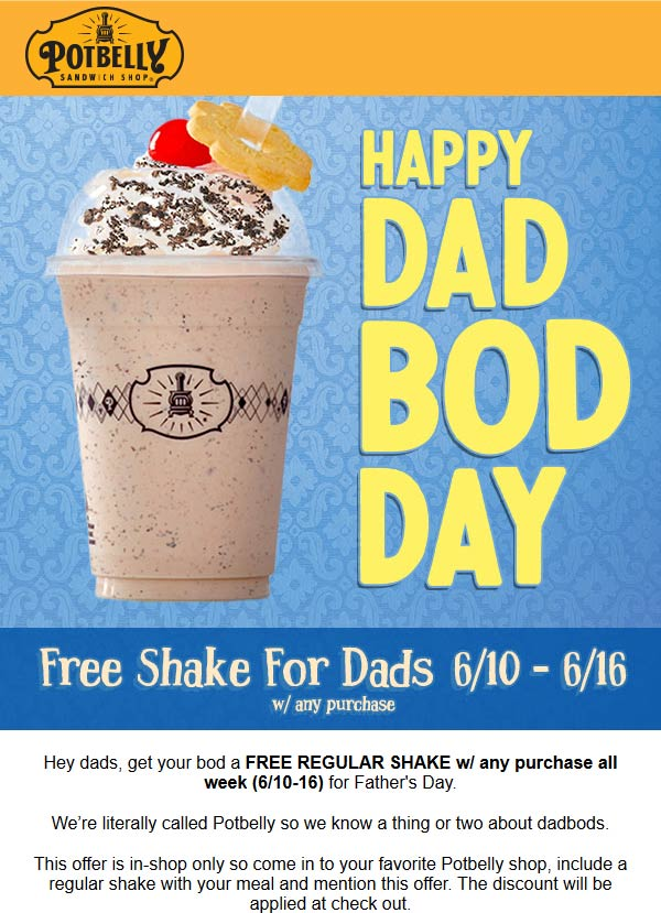Potbelly Coupon August 2019 Free shake for dads with any order at Potbelly sandwich shops
